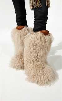 Alta calidad botas de nieve de cuero peludo de plumas de avestruz peludo de piel de las mujeres de invierno de las mujeres zapatos de nieve T espectáculo