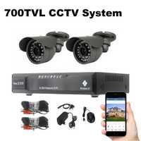 2 Sistema de Seguridad Cámaras 700TVL vigilancia Video 18 m Cable visión nocturna al aire libre impermeable CCTV sistema