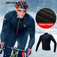 Chaqueta de Ciclismo de abrigo de invierno de lana térmica de manga larga a prueba de viento ropa de abrigo MTB Bike hombres chaqueta deportiva reflectante