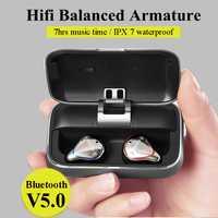 Bluetooth 5,0 cierto auriculares inalámbricos Bluetooth impermeable auricular del deporte 3D de sonido estéreo de auriculares con caja de carga para el teléfono