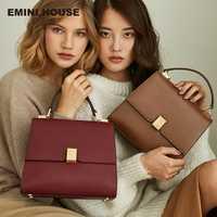EMINI casa estilo Retro de lujo bolsos de las mujeres bolsos de diseñador Simple candado Crossbody hombro bolsas para mujeres de cuero de