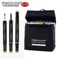 Finecolour a base de Alcohol marcadores cepillo doble punta 24/36/60/72 de color dibujo gráfico técnica boceto de diseño marcador Set Ef102