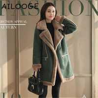 Abrigo 2019 lana de invierno de las mujeres de lana de algodón Rebeca chaquetas elegante mezcla con suave siesta mujeres abrigos