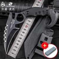 HX al aire libre Tigre Karambit D2 de acero táctico de alta dureza cuchillo recto salvaje de auto-defensa supervivencia cs ir cuchillo