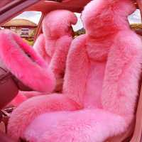 Unids 5 piezas Set funda de asiento delantero y asiento de coche de piel cubierta de volante de lana rosa invierno esencial Universal peludo mullido grueso imitación