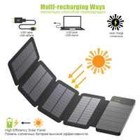 Banco de la energía Solar 4 paneles solares Solar Real banco de carga Solar plegable Powerbank para Xiaomi Huawei iPhone Samsung OPPO vivo
