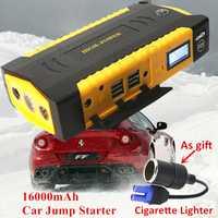 Multi-función 16000mAh Diesel gasolina dispositivo de arranque 600A 12V cargador de coche portátil para el coche batería Booster Auto Jumper Starter