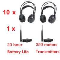 500 m RF bajo fuerte clásico auriculares silenciosos del disco paquete (10 auriculares y 1 transmisor)