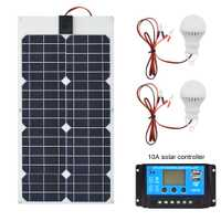 30 W 18 V Panel Solar Flexible + 12v24V 10A controlador USB + 5 w 12 v Led luz Solar cargador de batería para coche barco sistema Solar kits