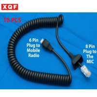 XQF 10 piezas de Cable de micrófono 6pin RJ-45 Para Kenwood TKR-730/750/830 TM-261A/271A/461A/ 471A
