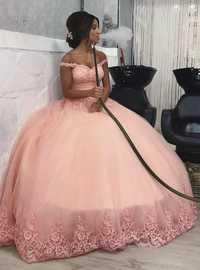 Quinceanera vestidos rosa de hombro de corsé de encaje tul vestido sin espalda vestidos de baile de cumpleaños fiesta desfile vestidos