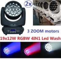 2 xLot envío gratis Led RGBW 4in1 Zoom 19x12 W LED haz de lavado de cabeza móvil luz DMX DJ disco efecto de iluminación de escenario para proyector