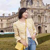 Nueva chaqueta de Otoño de las mujeres de un solo pecho tejido Tweed pequeña fragancia manga larga a cuadros amarillo Casaco abrigo