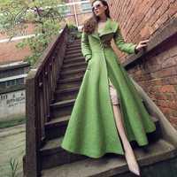 YOSIMI 2018 Otoño e Invierno Maxi elegante larga de lana las mujeres abrigo verdes de las mujeres Plus tamaño abrigo hembra S-XXL abrigos y chaquetas las mujeres