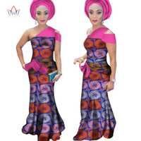 BRW mujeres africanas Bazin vestido para las mujeres Dashiki imprimir ropa sin mangas Maxi vestido más tamaño 6XL ropa WY1241