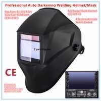 Casco de soldadura Premium máscara 100*65mm 1111 4 sensores de soldador sombrero de oscurecimiento Auto Solar MIG TIG de 3-13 CE UL CSA