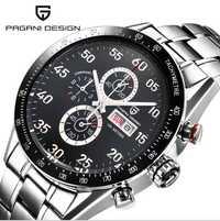 Reloj para hombre con cronógrafo de cuarzo multifunción de esfera negra de diseño PAGANI