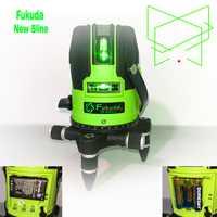 18 años Nueva Fukuda luz verde 5 línea nivel láser resplandor exterior AA batería de litio + tecla táctil nivel automático