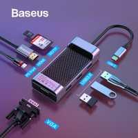 Baseus USB C HUB USB 3,0 HDMI RJ45 VGA divisor USB para MacBook Pro de aire/aire de tipo C HUB para Huawei Mate 20 Pro Samsung S9 S10
