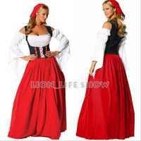 Alemán mujeres cerveza traje rojo disfraces carnaval disfraces de Halloween para las mujeres
