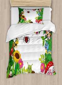 Duvet Cover Set Happy Little mariposas insectos Comic orugas libélulas Araña, 4 unidades lecho