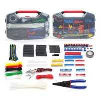 WORKPRO 582 PC herramienta eléctrica Kit de terminales de crimpado conectores de cable tubo de encogimiento de calor eléctrico Kit de reparación con cortador de alambre de Stripper