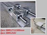 12mm carril lineal de SBR12 1500mm 2 unids y 4 unids SBR12UU rodamiento lineal bloques para cnc piezas 12mm guía lineal