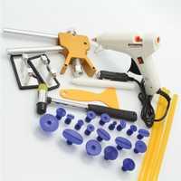 Herramientas de coche PDR para instrumentos de equipo de reparación de carrocería de coche Kit de eliminación de abolladuras Juego de Herramientas de levantador de abolladuras Ventosa con pistola de pegamento 12 V
