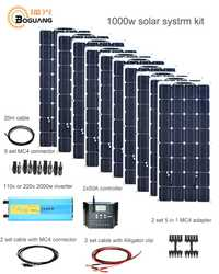 Kit de Sistema Solar Boguang 1000 w 10*100 W Módulo de panel solar 50A controlador 2000 w inversor adaptador conector carga de la batería