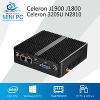 Mini PC Celeron J1900 J1800 Windows 10 Linux 2 LAN 2 COM Celeron 3205U N2810 Dual Core Mini ordenador Industrial HDMI 2 * RJ45