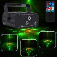 YSH RG Proyector láser Navidad 48 patrones de luz Disco ducha Star DJ luces LED de la etapa de luz de la decoración de la casa
