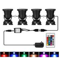 4 piezas teledirigido Color cambiante acuario RGB 36 luces LED sumergible burbuja de aire lámpara estanque acuario paisaje decorativo