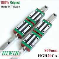 HIWIN HGR20 carril lineal de 800mm 2 piezas HGH20 guías + 4 piezas HGH20CA bloques para CNC