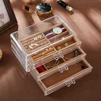 Caja de joyería de acrílico transparente pendientes anillo de polvo de la joyería de joyas de caja de almacenamiento soporte de exhibición