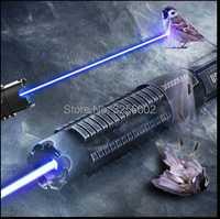 ¡Caliente! AAA militar más poderosa linterna de la antorcha del Laser ardiente 450nm 30000 M puntero láser azul enfocable quemar papel 30 W caza