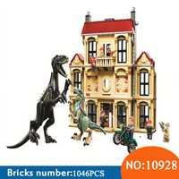 10928, 1046 piezas Mundo Jurásico dinosaurio Indoraptor alboroto en estado Lockwood juguetes de bloques de construcción para niños 75930