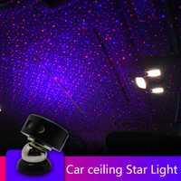 ZUORUI RGB del atmósfera del coche de la luz de coche estrella cielo DJ luz Proyector láser RGB sonido de la música de Control remoto coche decorativo Lámpara decorativa k1