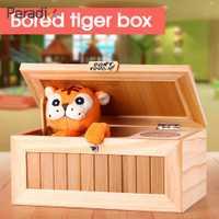 Caja de madera electrónica inútil Tigre lindo regalo divertido para el niño y niños juguetes interactivos reducción de estrés escritorio Decoración