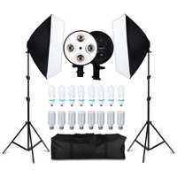 Photo Studio 8 led 20 W kit de boîte à lumière Photographique kit d'éclairage Caméra et accessoires Photo 2 pied de projecteur 2 Softbox pour Appareil Photo
