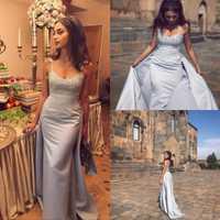 Vestidos de Noche sirena vestidos de noche Arabia Saudita Dubai Sexy bebé azul espagueti correas aplique satén Formal vestidos de graduación 2019
