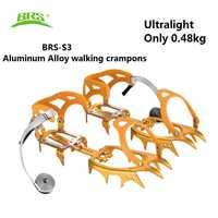 BRS 14 dientes pinzas ultraligeras crampones zapatos antideslizantes cubierta de aluminio pinza de hielo para esquí al aire libre nieve escalada