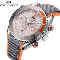 Hommes automatique auto vent mécanique toile caoutchouc bracelet James Bond 007 Style Orange bleu rouge multifonction Date mois montre