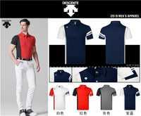 2019 hommes Sportswear manches courtes DESCENTE Golf T-shirt 4 couleurs Golf vêtements S-XXL au choix loisirs Golf chemise livraison gratuite