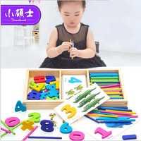 Arco Iris de madera de contando Jigsaw pegatinas para los niños de los niños rompecabezas de inteligencia desarrollo juguetes regalo