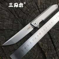 Sanrenmu llavero 1161 cuchillo plegable de bolsillo 14C28N hoja de acero inoxidable Flipper rodamiento de bolas al aire libre Camping herramienta de supervivencia EDC cuchillo