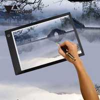 AMZDEAL A4 luz LED Pad plantilla tablero tableta de dibujo de tatuaje de la caja de visualización de cuadro 3 de atenuación