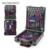 WORKPRO 111 Unid caso Trolley de la herramienta de aluminio caja de Casa Kits de herramienta