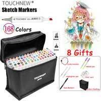 TOUCHNEW marcadores 60 colores Alcohol pincel bolígrafo Sketch marcadores de arte Touchnew Manga dibujo marcador diseño arte pincel pinceles Liners