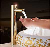 Latón baño grifo del fregadero grifo del lavabo automático mezclador sensor Touch sensor libre del grifo de oro individual frías automáticas manos grifo