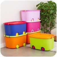 Caja de almacenamiento de juguete para niños, caja de almacenamiento de plástico con ruedas de Reina y coches bonitos